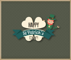St. Patrick's Day Vector Illustration With Clover, Ribbon And Leprechaun