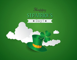 St. Patrick's Day Vector Illustration With Clover , Ribbon, Clouds And Green Hat