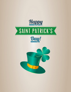 St. Patrick's Day Vector Illustration With Clover,hat And Ribbon