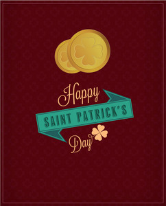 St. Patrick's Day Vector Illustration With Coins And Ribbon