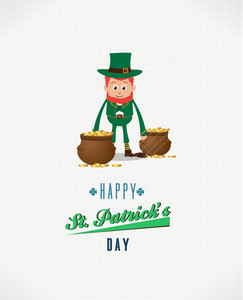 St. Patrick's Day Vector Illustration With Leprechaun And Pot With Coins