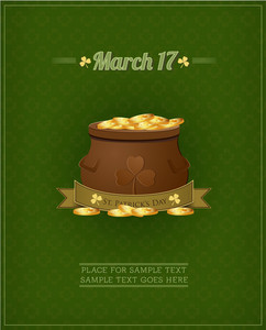 St. Patrick's Day Vector Illustration With Origami Ribbon, Clover,money And Pot