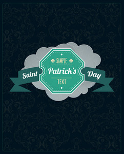 St. Patrick's Day Vector Illustration With Retro Badge And Clouds