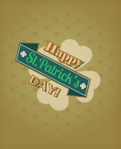 St. Patrick's Day Vector Illustration With Ribbon And Clover