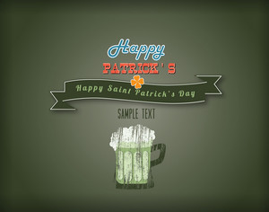 St. Patrick's Day Vector Illustration With Ribbon And Mug Of Beer