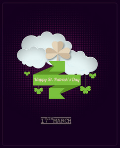 St. Patrick's Day Vector Illustration With Sticker Clover,clouds And Origami Ribbon