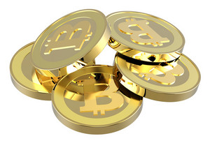 Stack Of Bitcoins Isolated On White.