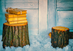 Stack of books on the wooden stump. Christmas decoration
