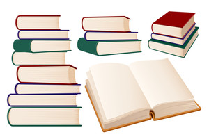 Stack Of Books On White Background. Vector Illustration.