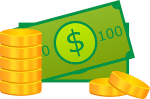 Stack Of Gold Coins And Dollar Icon On White Background