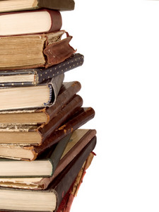 Stack Of Vintage Books Isolated On White