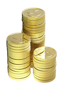 Stacks Of Gold Dollar Coins Isolated On A White Background.