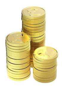 Stacks Of Gold Pound Coins Isolated On A White Background.