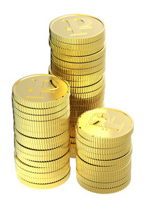 Stacks Of Gold Ruble Coins Isolated On A White Background.