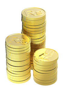 Stacks Of Gold Rupee Coins Isolated On A White Background.