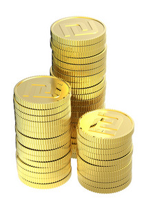 Stacks Of Gold Shekel Coins Isolated On A White Background.