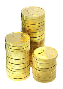Stacks Of Gold Yen Coins Isolated On A White Background.