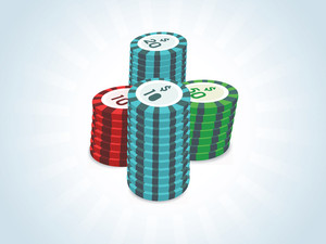 Stacks Of Poker Chips Isolated On Casino Background
