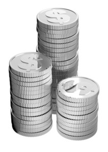 Stacks Of Silver Dollar Coins Isolated On A White Background.