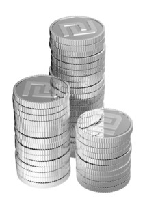 Stacks Of Silver Shekel Coins Isolated On A White Background.