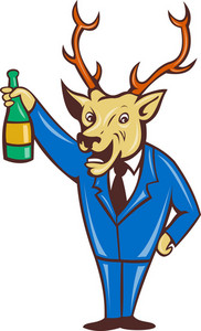 Stag Deer Holding Champagne Wine Bottle