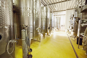Stainless steel wine vats in a row inside the winery. Equipment of winemaker with steel barrels for fermentation.