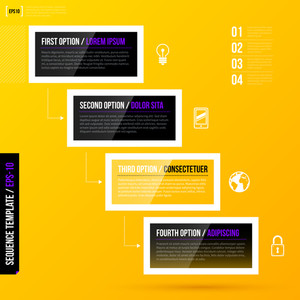 Stairs Made Of Four Banners/options On Bright Yellow Background. Eps10