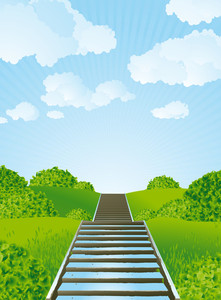 Stairs To Sky. Vector.