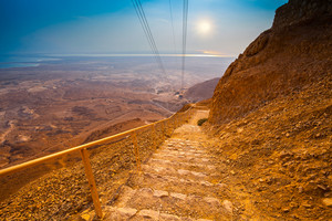 Stairway and cableway to Masada fortress