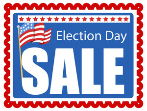 Stamp Style Background For Election Day Sale Vector Illustration