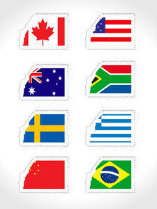 Stamp With Set Of World Flag