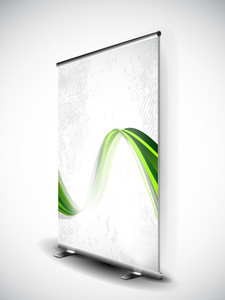 Stand Banner With Roll Up Display For Product Promotion Or Template Design Eps 10
