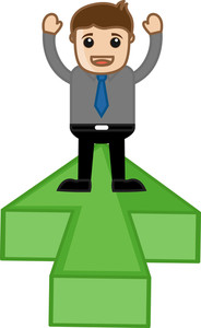 Standing On Arrow Plateform - Vector Character Illustration