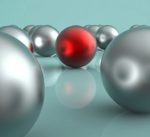 Standing Out Metallic Balls Showing Leadership