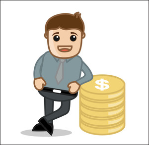 Standing With Gold & Money - Office And Business Cartoon Character Vector Illustration Concept & Pose