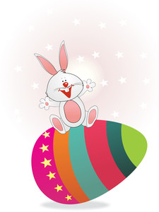 Star Background With Buny Sit On Egg