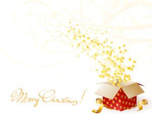 Star Shining Fancy Gift. Opening Magic Box. Vector Card Template.