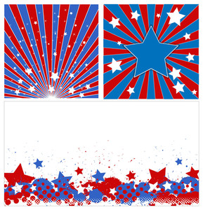 Stars Background Set Patriotic Usa Theme Vector