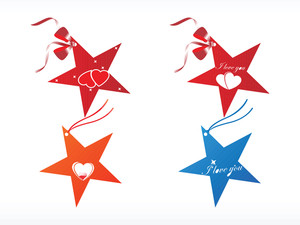 Stars Design Tags With Heart Red And Orange