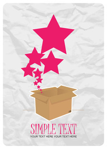 Stars Taking Off From A Box. Abstract Vector Illustration.