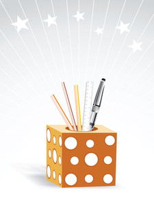 Stationery Pencil Case On Background