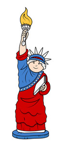 Statue Of Liberty 4th Of July Vector Illustration