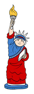 Statue Of Liberty Cartoon Character Vector Illustration