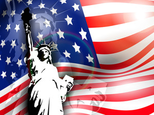Statue Of Liberty On American Flag Background For 4th July American Independence Day And Other Events. Vector Illustration.