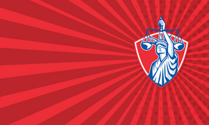 Statue Of Liberty Raising Justice Weighing Scales Retro