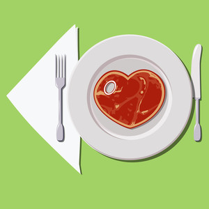 Steak-heart Vector Illustration.