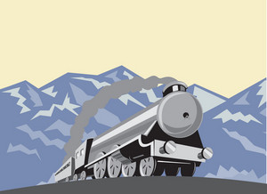 Steam Train Locomotive Mountains Retro
