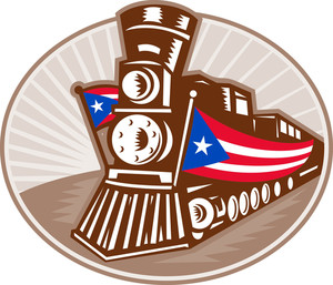 Steam Train Locomotive With Puerto Rico Flag