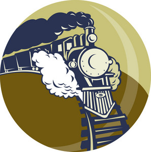 Steam Train Or Locomotive Coming Up