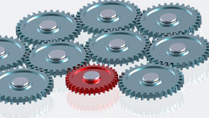 Steel Gears In Connection With Red One. Concept For Teamwork And Business.